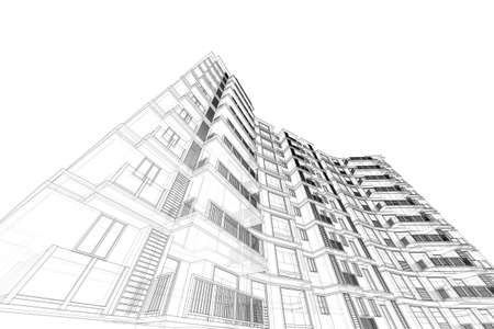 elevate: architecture abstract, 3d illustration,high-rise building Stock Photo