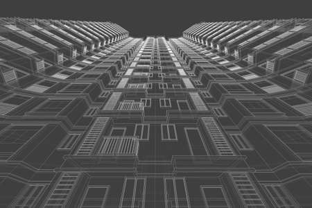 architecture abstract: architecture abstract, 3d illustration,high-rise building Stock Photo