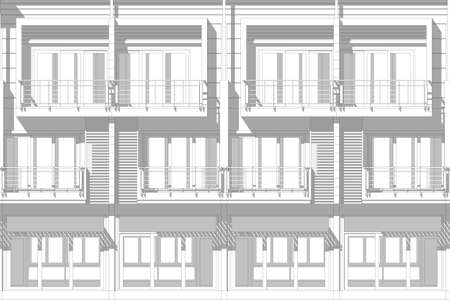 elevation: architecture abstract, 3d illustration,commercial building elevation
