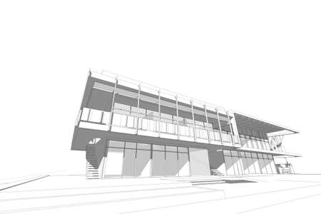 elevate: architecture abstract, 3d illustration,commercial building Stock Photo