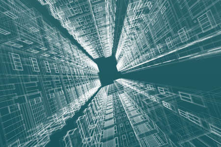 abstract building: architecture abstract, 3d illustration,high-rise building Stock Photo