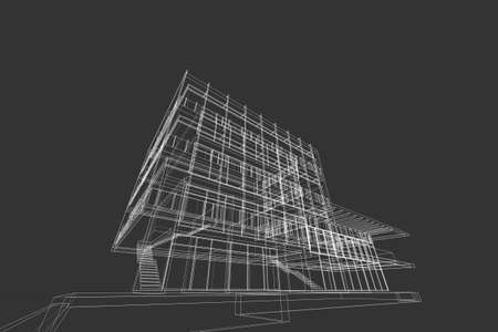 architecture abstract, 3d illustration,commercial building Stock Photo