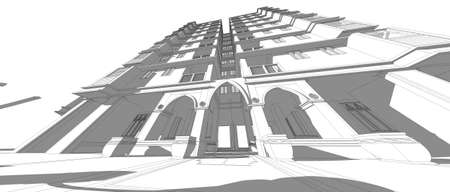 elevate: architecture abstract, 3d illustration, building structure