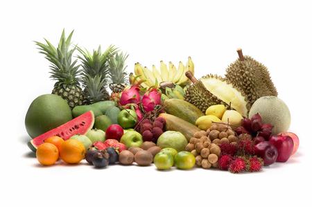Durian: nhóm trái cây Thái Lan trên nền trắng, cô lập Kho ảnh