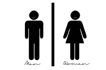white back: Toilet sign on white back ground Stock Photo