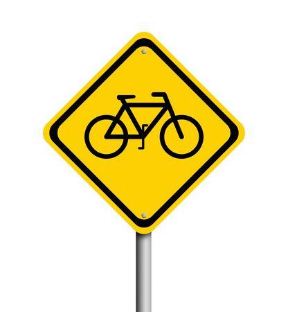 danger ahead: Bike sign on white background Stock Photo