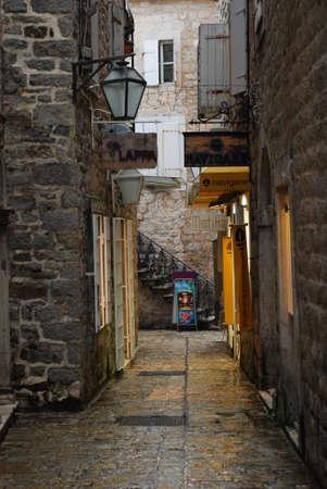 Little street in Budva in Montenegro Editorial