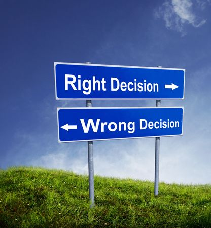 Right and Wrong decision photo