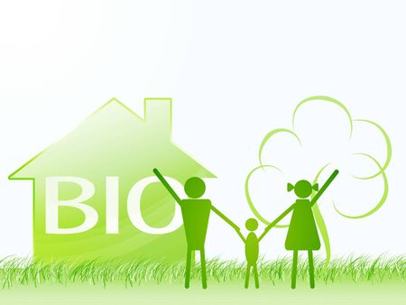 land development: bio family with house, tree in shapes. ecology theme concept Stock Photo