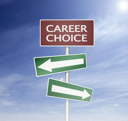 direction sign and board with career choise way photo