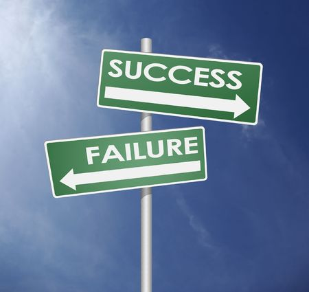 fairure and success direction with arrow in blue sky background photo