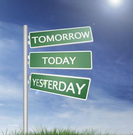 signo de dirección con el cielo azul y el verde césped