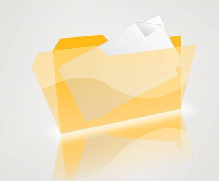 isolated yellow folder with white letters over gray photo
