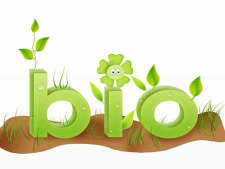 bio text word with grass, flowers and leafes in green colors. ecology concept photo