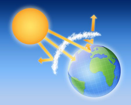 greenhouse effect: earth atmosphere greenhouse effect scheme with sun rays and planet