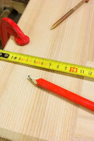Pencil, ruler, clamp and screw Stock Photo - 6383396