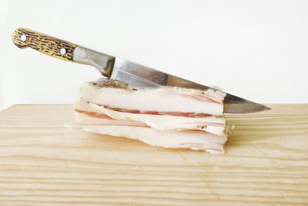 fad: pig lard on table with knife. fad food (overweight) theme
