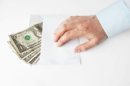 Cash Payment in envelope theme with human hand photo