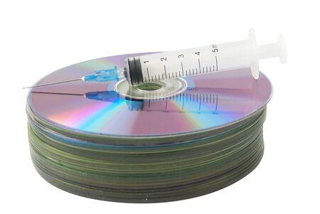 Database on CD protect. Antivirus funny theme  photo