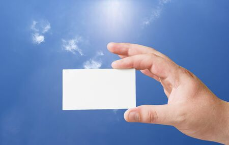 empty paper card in human hand Stock Photo - 8035363