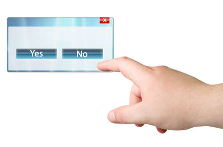 Finger and computer window with Yes/No buttons Stock Photo - 8035340
