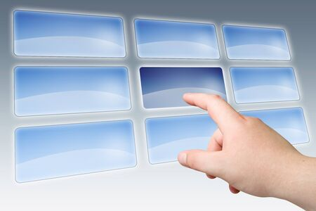 finger push on blank touch screen buttons photo