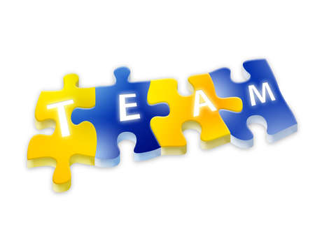 Puzzle team isolated background Stock Photo - 8035348