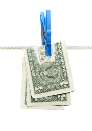 U.S. dollar on rope over white  photo