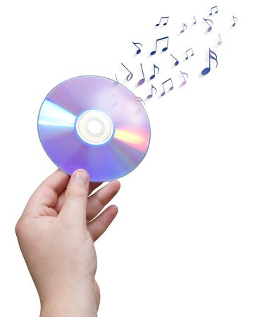 cd: DVDCD in hand with musical notes isolated