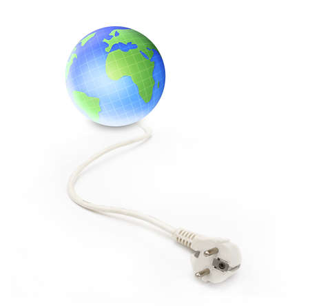earth globe with electrical cable isolated background  photo