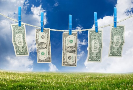 One Dollar Hanging a Rope with Clothespins on landscpae background photo