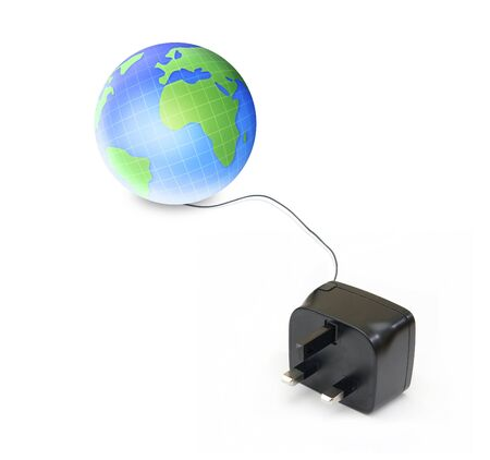 earth globe connected with UK Plug electrical cable isolated background photo