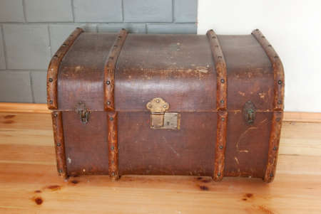 old leather chest (trunk)  photo