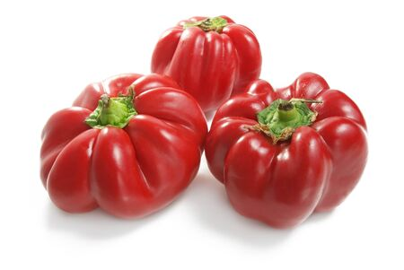 healthy llifestyle:  bulgarian Red pepper over white  Stock Photo
