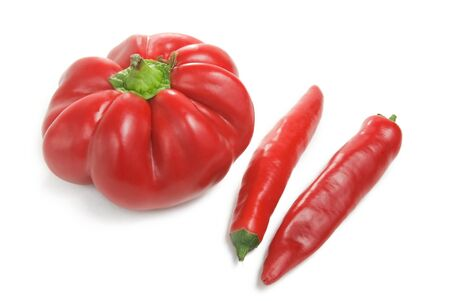 healthy llifestyle: bulgarian red peppers with chili Stock Photo