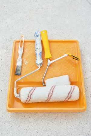 painting tools on white grid Stock Photo - 8229704
