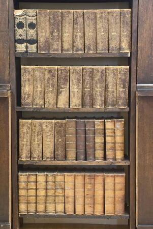 Row of Antique Books in Library photo