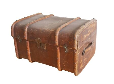 old leather chest (trunk) isolated  photo