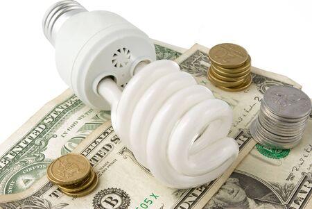 Fluorescent Lightbulb and money Stock Photo - 8229931
