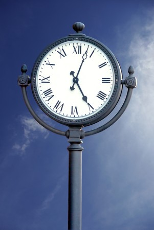 upheaval: Town Clock with blue sky background
