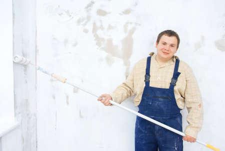 Smilling portrait of student painter photo