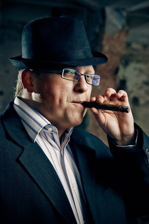 mafia boss with cigar photo