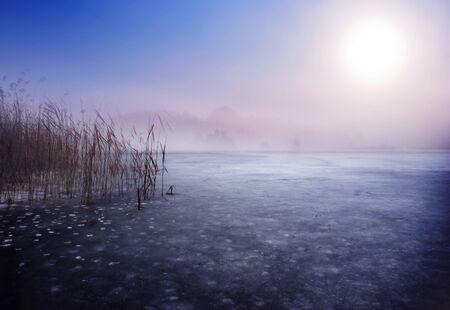 Frozen lake in winter. Fantasy scenery landscape