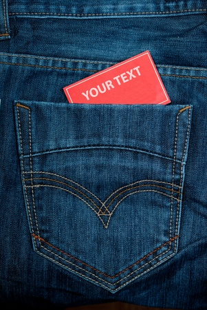 jeans pocket and paper note with copy space photo
