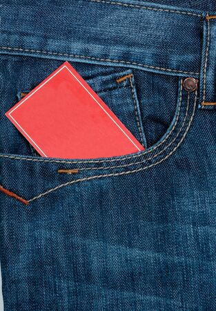 jean pocket: red note paper in jeans front pocket