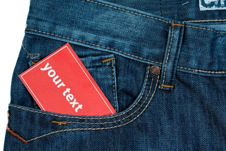 red color paper note in jeans pocket with copy space photo
