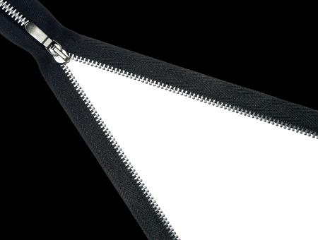 zipper unzipped white copy space