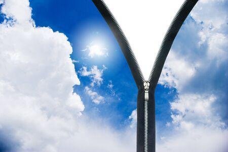 analog�a: Concepto de nuevo d�a. cremallera y nubes