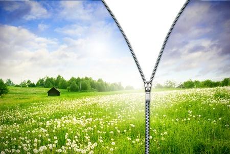 new beginning: Zipper unzipped green field.