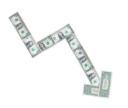 arrow from money down on white background photo